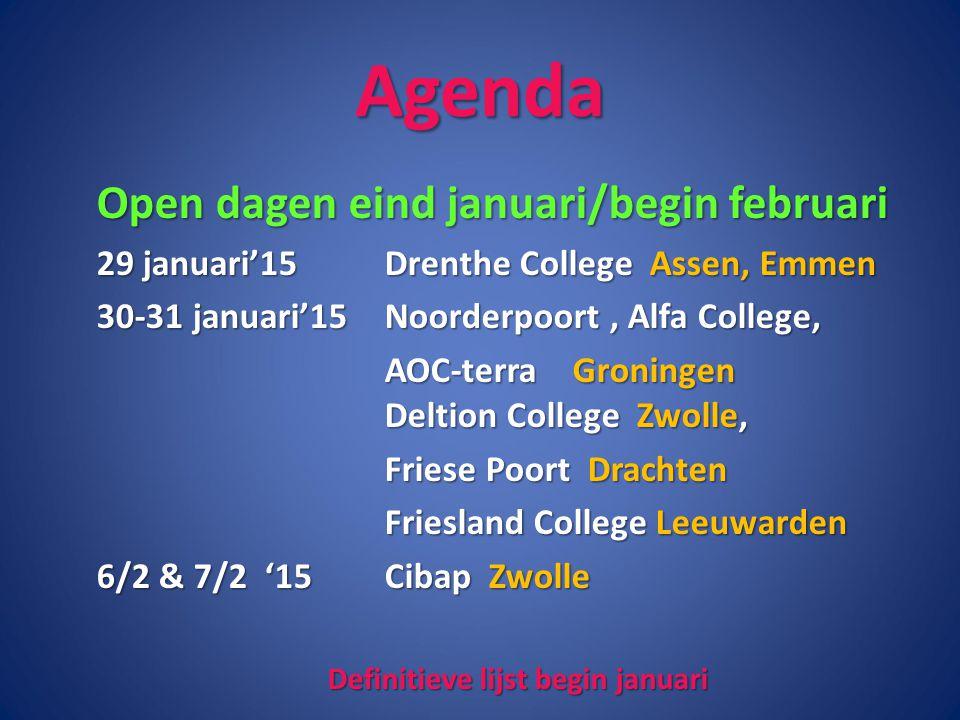 Definitieve lijst begin januari
