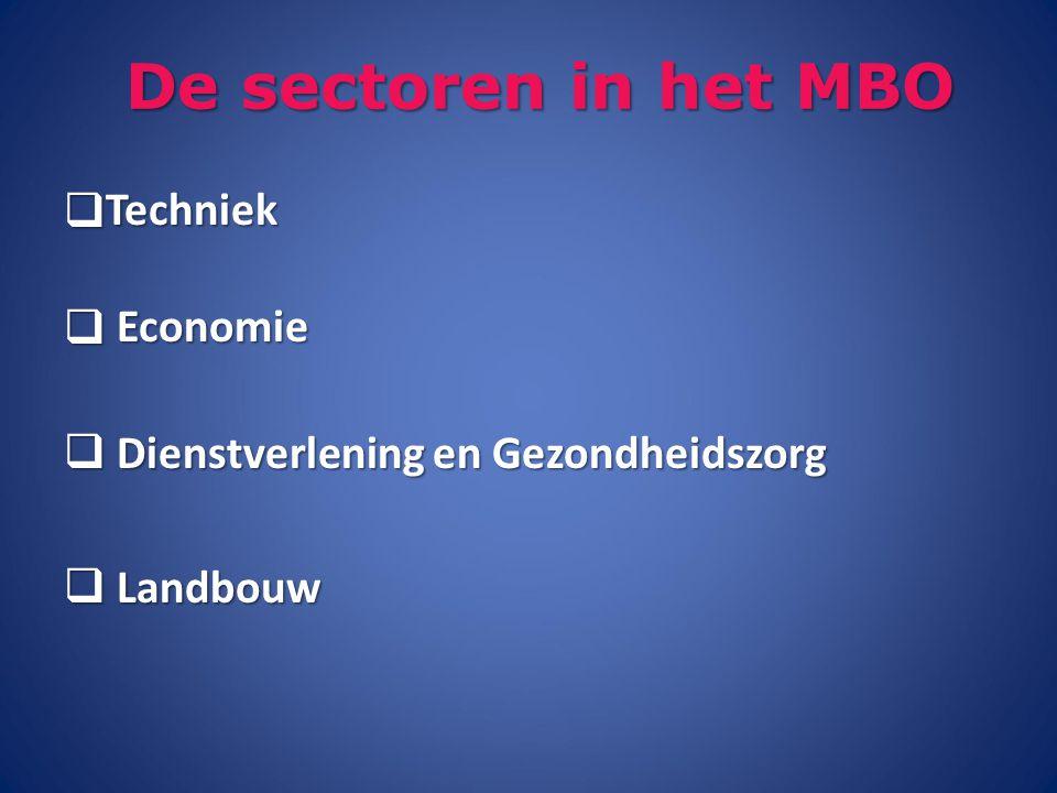 De sectoren in het MBO Techniek Economie