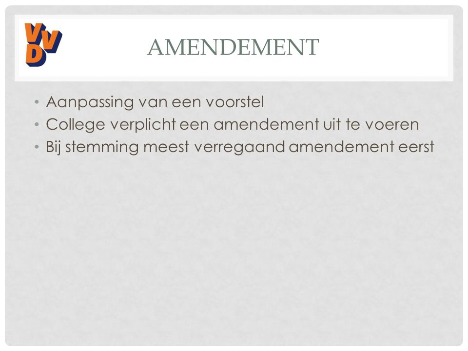 Amendement Aanpassing van een voorstel