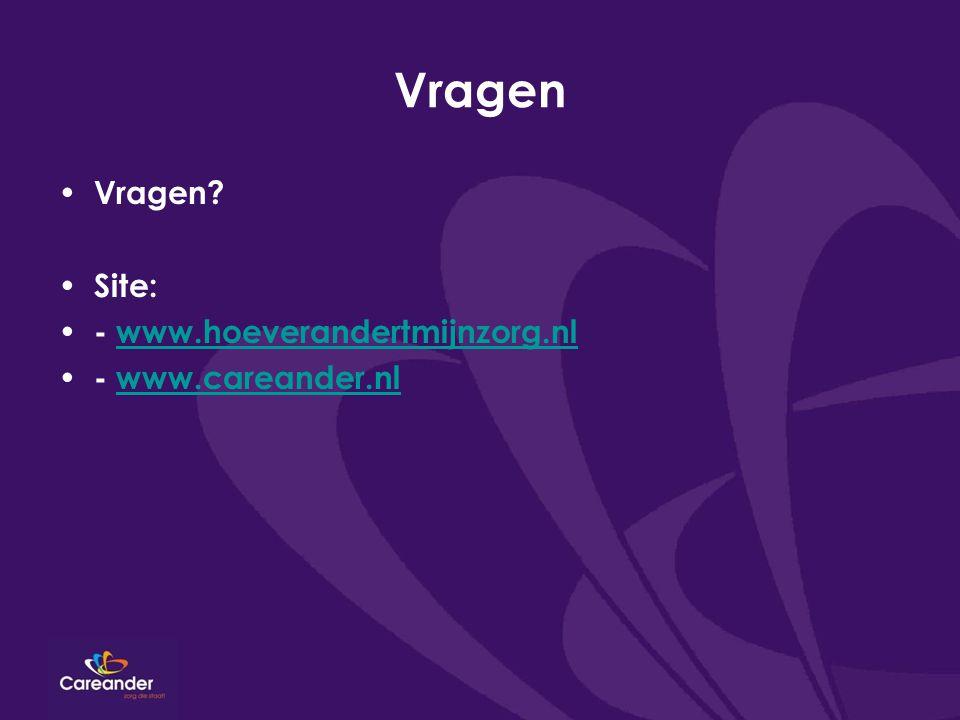 Vragen Vragen Site: - www.hoeverandertmijnzorg.nl - www.careander.nl
