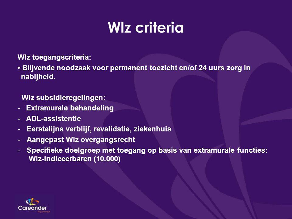Wlz criteria Wlz toegangscriteria:
