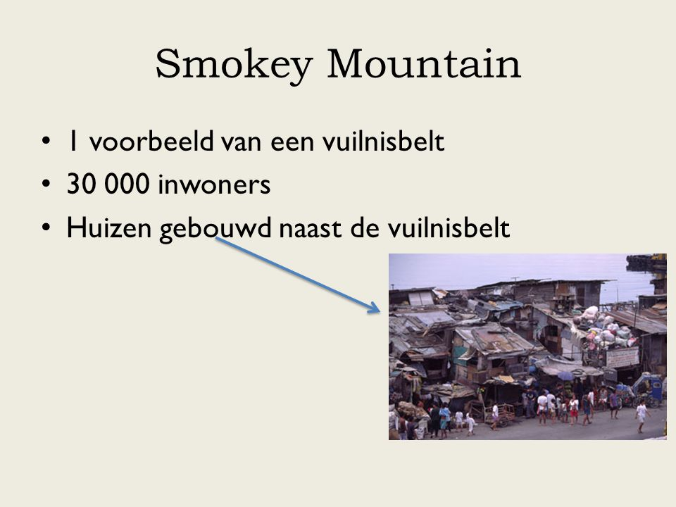 Smokey Mountain 1 voorbeeld van een vuilnisbelt 30 000 inwoners