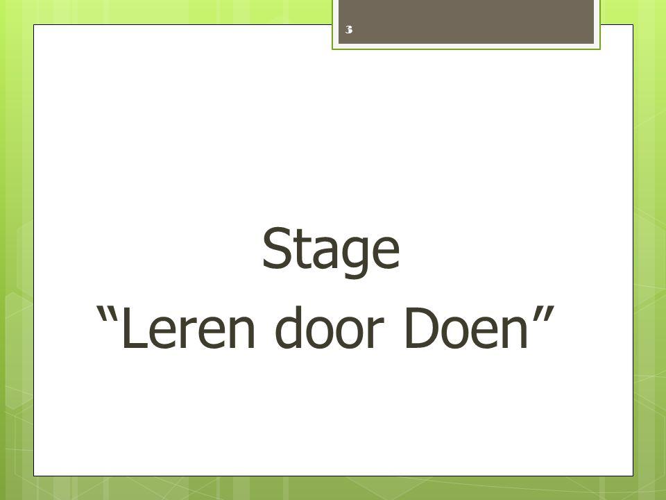Stage Leren door Doen