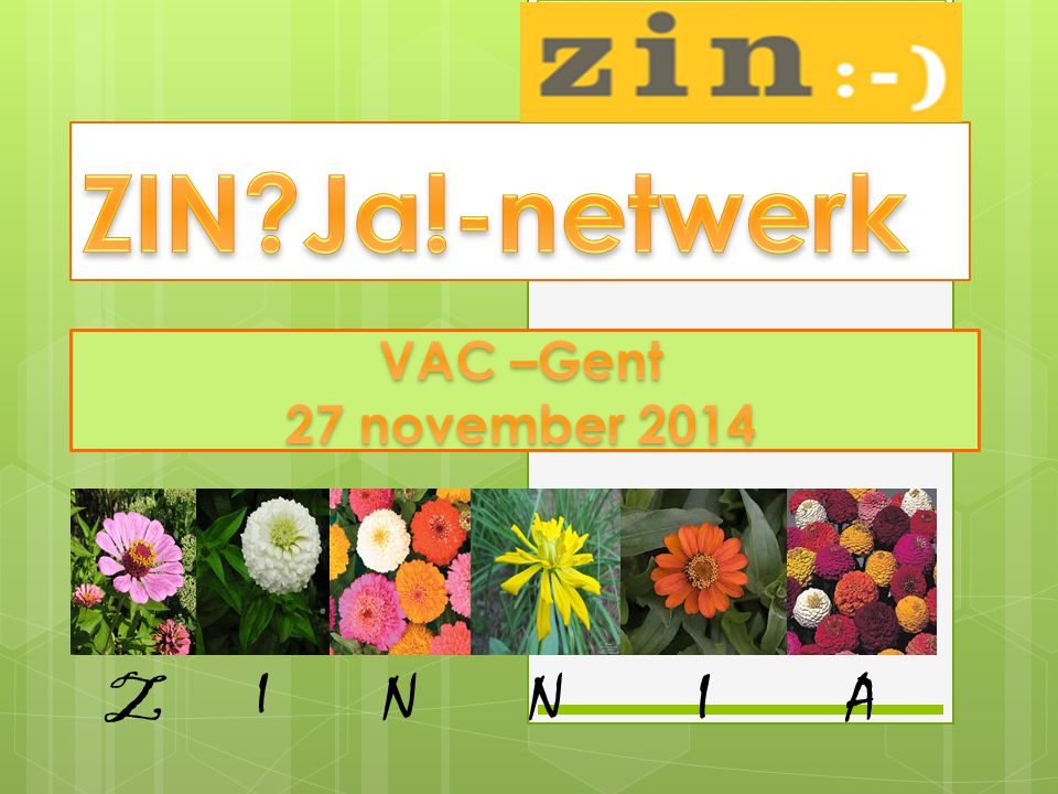 ZIN Ja!-netwerk VAC –Gent 27 november 2014 Z I N N I A