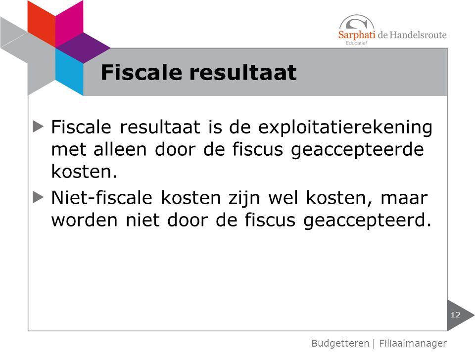 Fiscale resultaat Fiscale resultaat is de exploitatierekening met alleen door de fiscus geaccepteerde kosten.