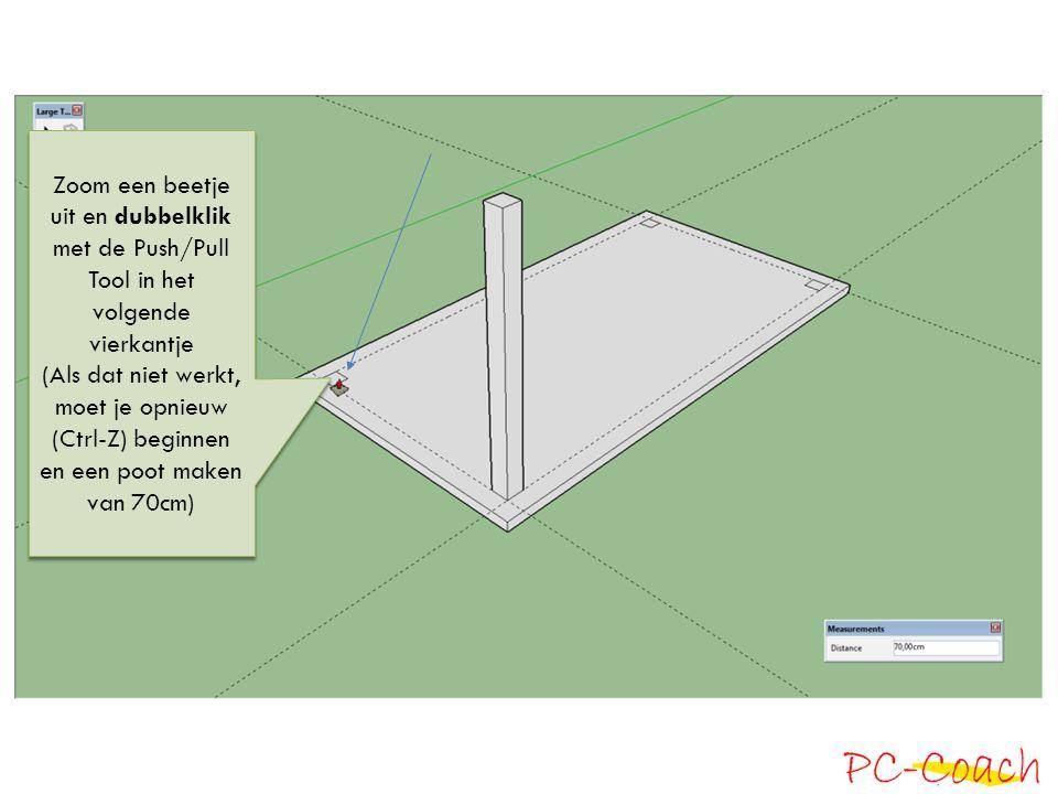 Zoom een beetje uit en dubbelklik met de Push/Pull Tool in het volgende vierkantje