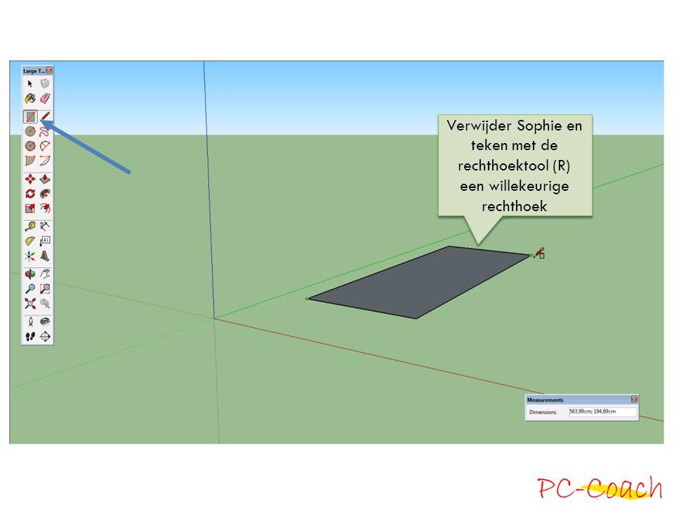 Verwijder Sophie en teken met de rechthoektool (R) een willekeurige rechthoek