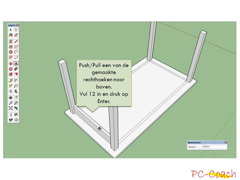 Push/Pull een van de gemaakte rechthoeken naar boven.