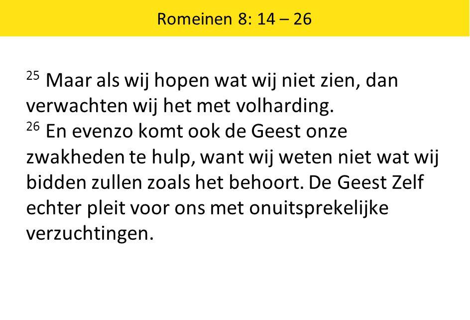 Romeinen 8: 14 – 26 25 Maar als wij hopen wat wij niet zien, dan verwachten wij het met volharding.