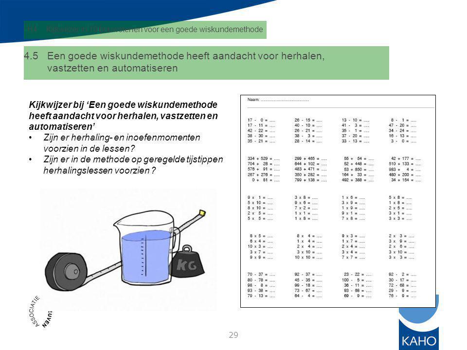 H4 Kijkwijzer in 10 bouwstenen voor een goede wiskundemethode