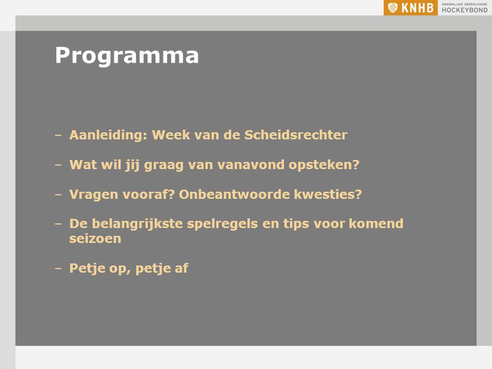 Programma Aanleiding: Week van de Scheidsrechter