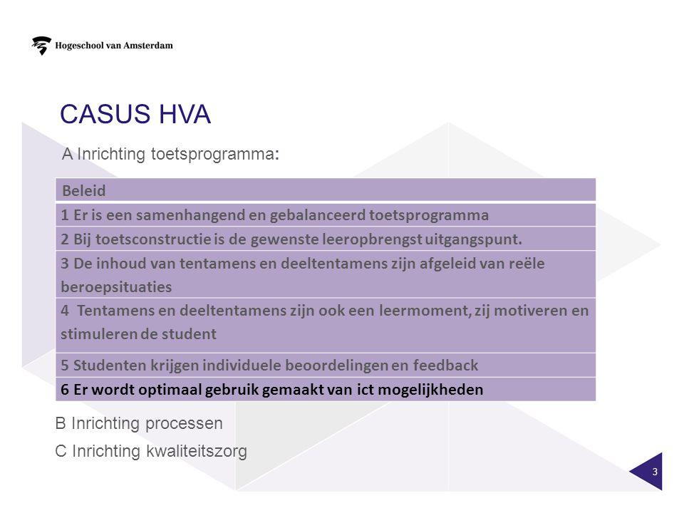 Casus HvA A Inrichting toetsprogramma: Beleid. 1 Er is een samenhangend en gebalanceerd toetsprogramma.