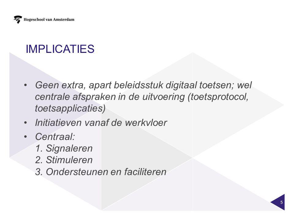 Implicaties Geen extra, apart beleidsstuk digitaal toetsen; wel centrale afspraken in de uitvoering (toetsprotocol, toetsapplicaties)