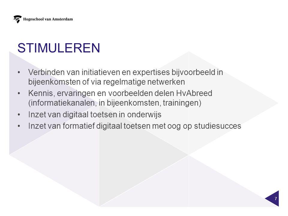 Stimuleren Verbinden van initiatieven en expertises bijvoorbeeld in bijeenkomsten of via regelmatige netwerken.