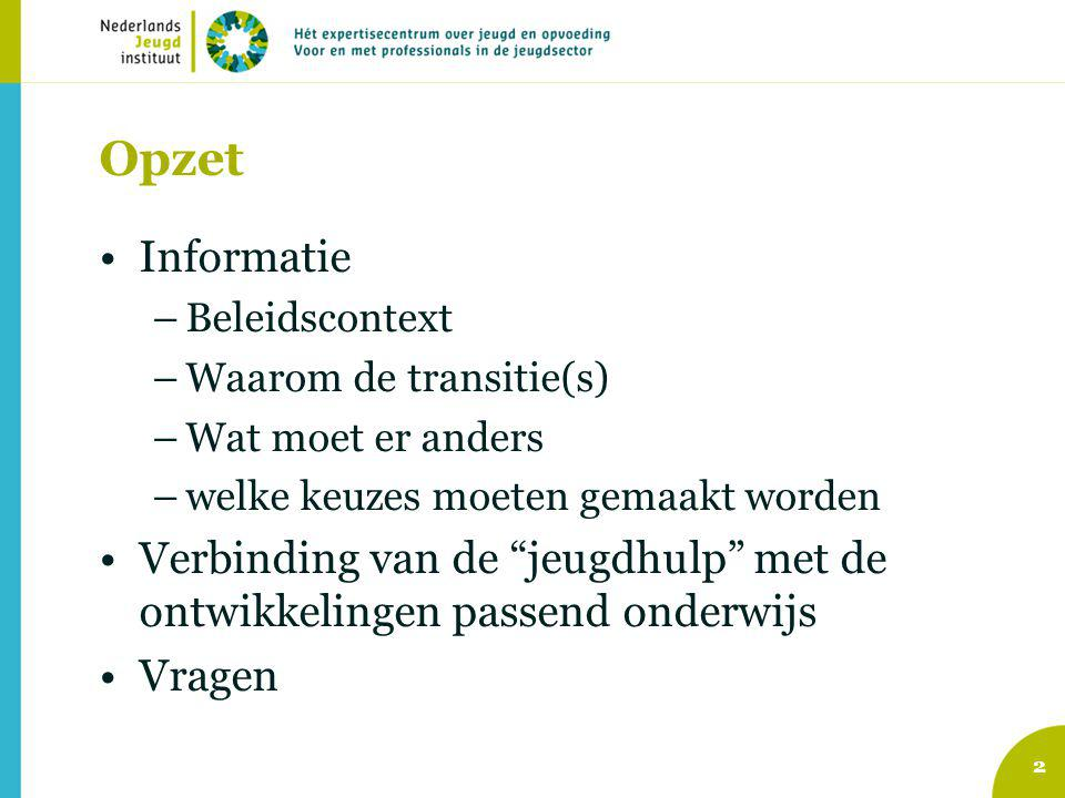 Opzet Informatie. Beleidscontext. Waarom de transitie(s) Wat moet er anders. welke keuzes moeten gemaakt worden.