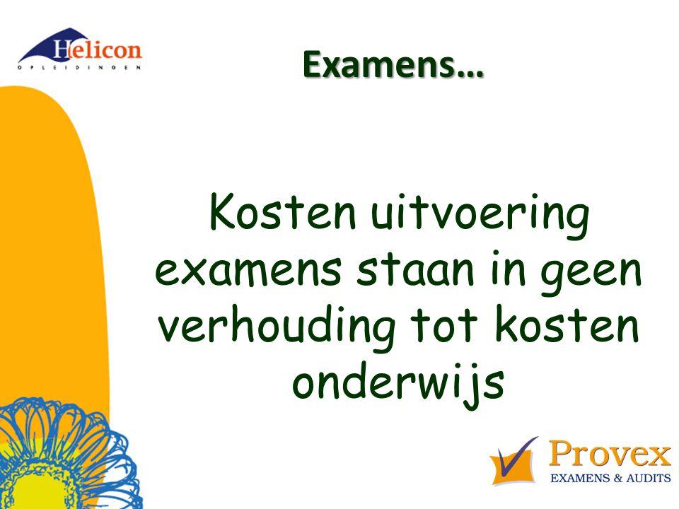 Helicon Opleidingen april '17. Examens… Kosten uitvoering examens staan in geen verhouding tot kosten onderwijs.