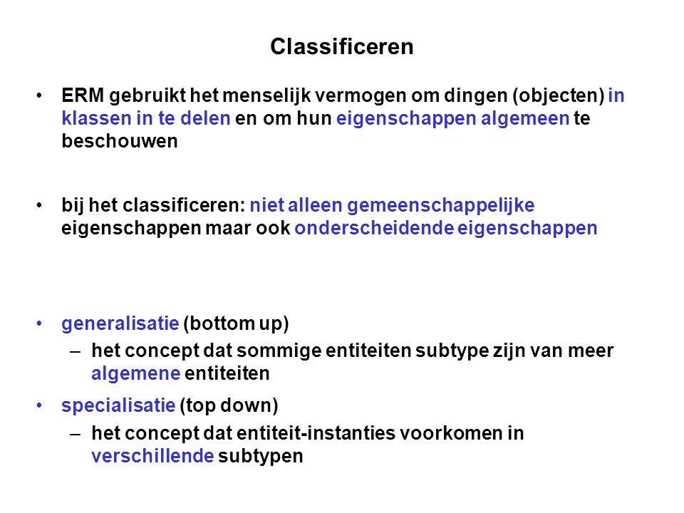 Classificeren ERM gebruikt het menselijk vermogen om dingen (objecten) in klassen in te delen en om hun eigenschappen algemeen te beschouwen.
