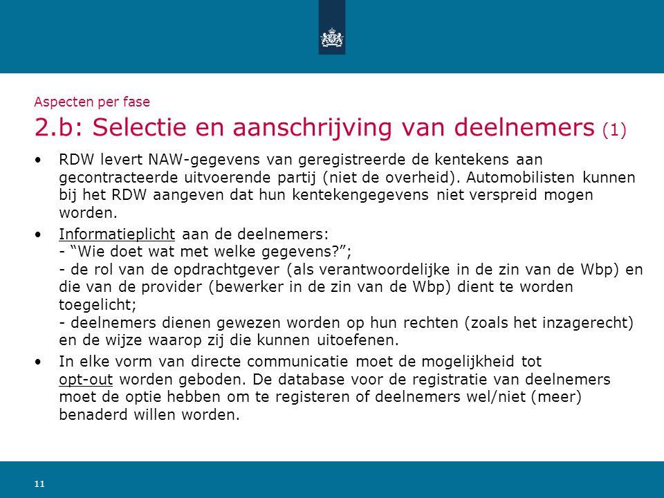 Aspecten per fase 2.b: Selectie en aanschrijving van deelnemers (1)
