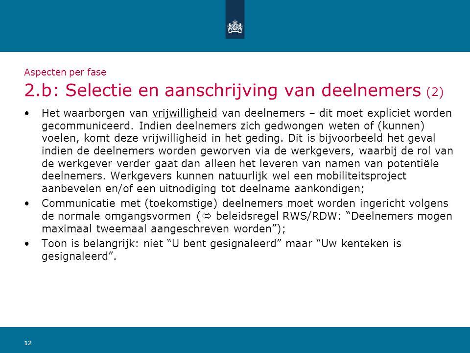 Aspecten per fase 2.b: Selectie en aanschrijving van deelnemers (2)