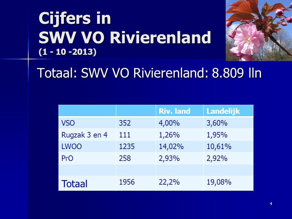 Cijfers in SWV VO Rivierenland (1 - 10 -2013)