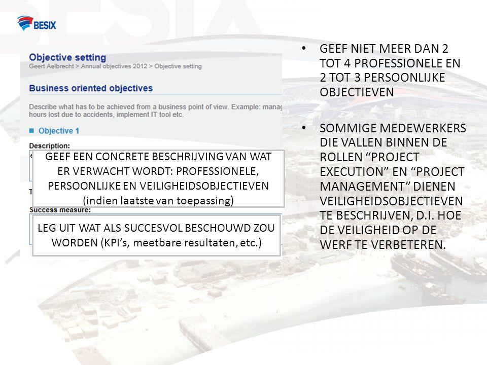 GEEF NIET MEER DAN 2 TOT 4 PROFESSIONELE EN 2 TOT 3 PERSOONLIJKE OBJECTIEVEN