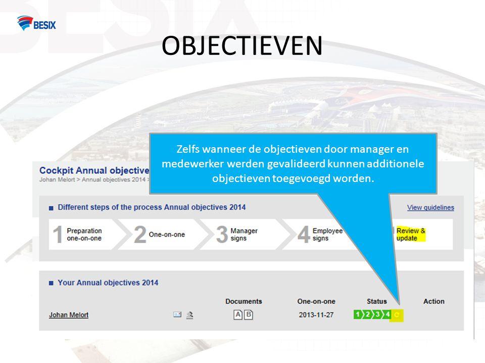 OBJECTIEVEN Zelfs wanneer de objectieven door manager en medewerker werden gevalideerd kunnen additionele objectieven toegevoegd worden.