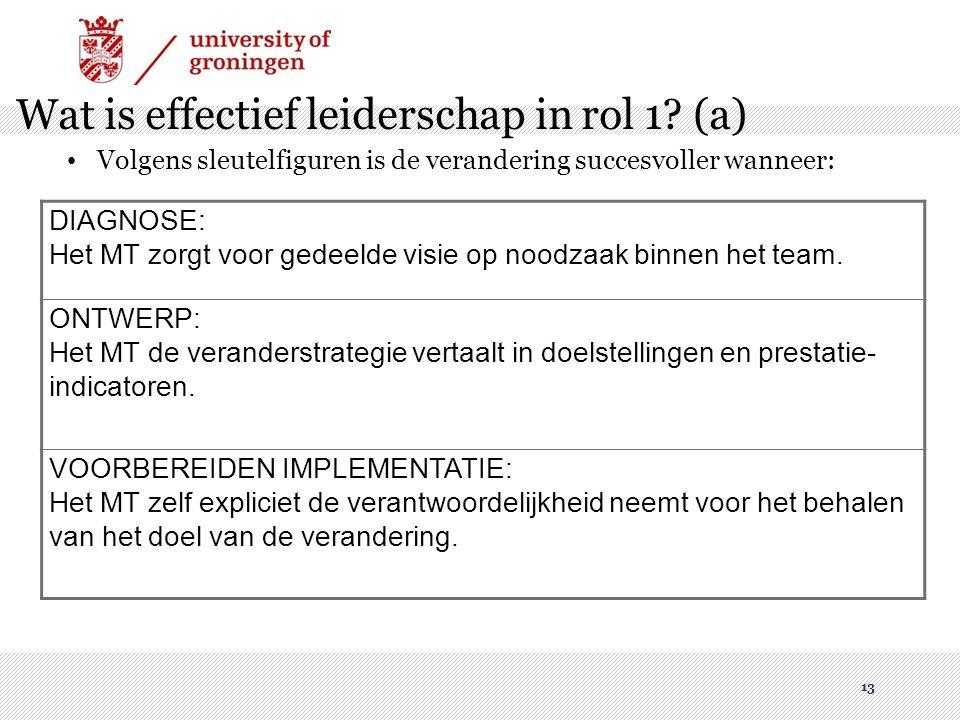 Wat is effectief leiderschap in rol 1 (a)