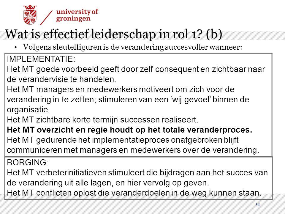 Wat is effectief leiderschap in rol 1 (b)