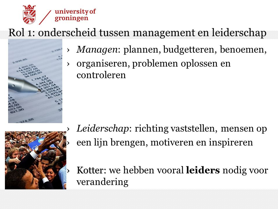 Rol 1: onderscheid tussen management en leiderschap