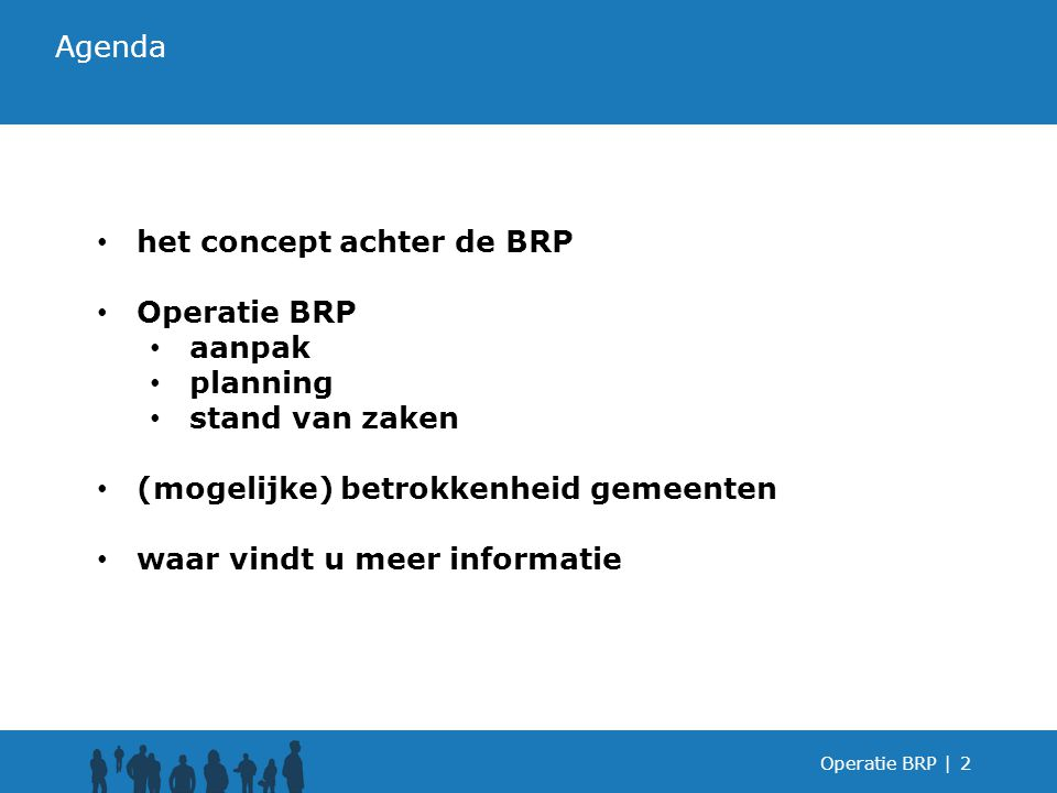 het concept achter de BRP Operatie BRP aanpak planning stand van zaken