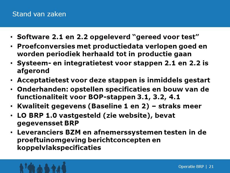 Software 2.1 en 2.2 opgeleverd gereed voor test