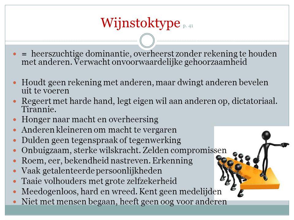 Wijnstoktype p. 41 = heerszuchtige dominantie, overheerst zonder rekening te houden met anderen. Verwacht onvoorwaardelijke gehoorzaamheid.