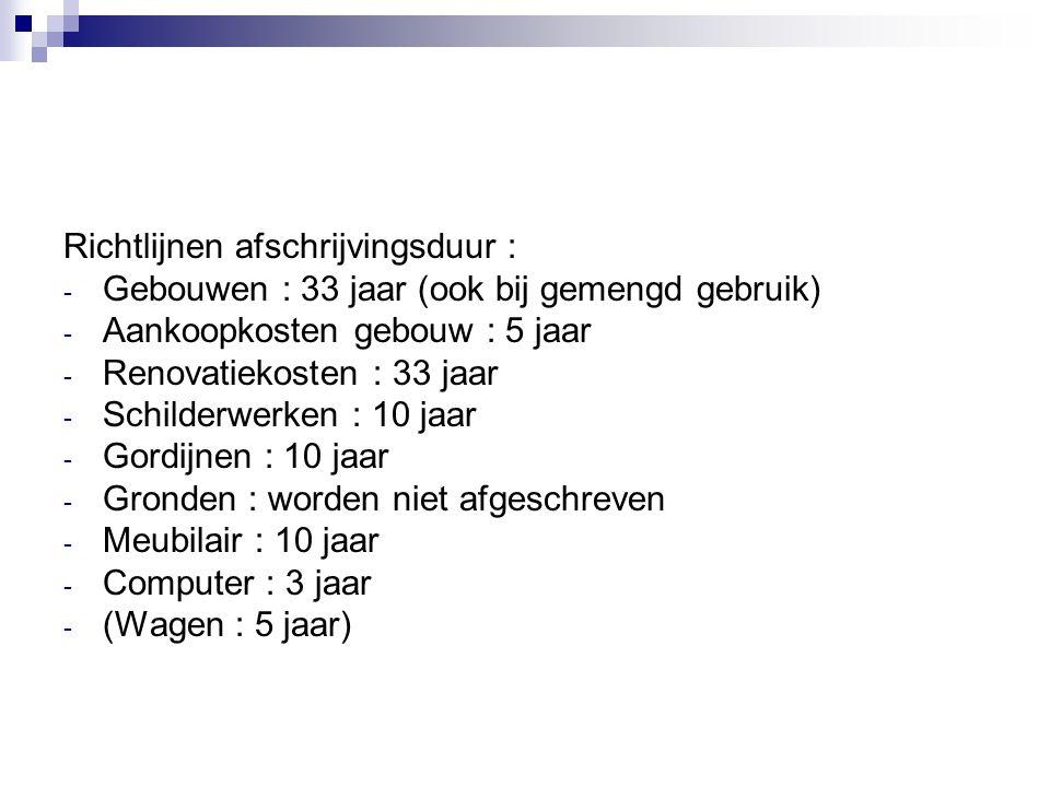 Richtlijnen afschrijvingsduur :