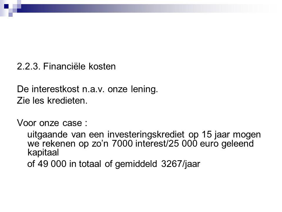 2.2.3. Financiële kosten De interestkost n.a.v. onze lening. Zie les kredieten. Voor onze case :