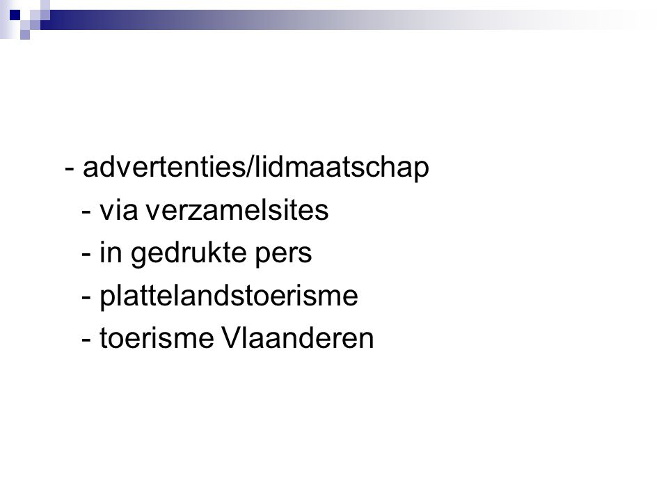- advertenties/lidmaatschap