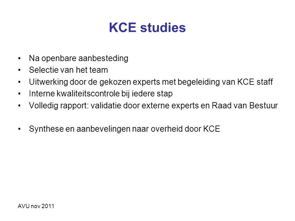 KCE studies Na openbare aanbesteding Selectie van het team