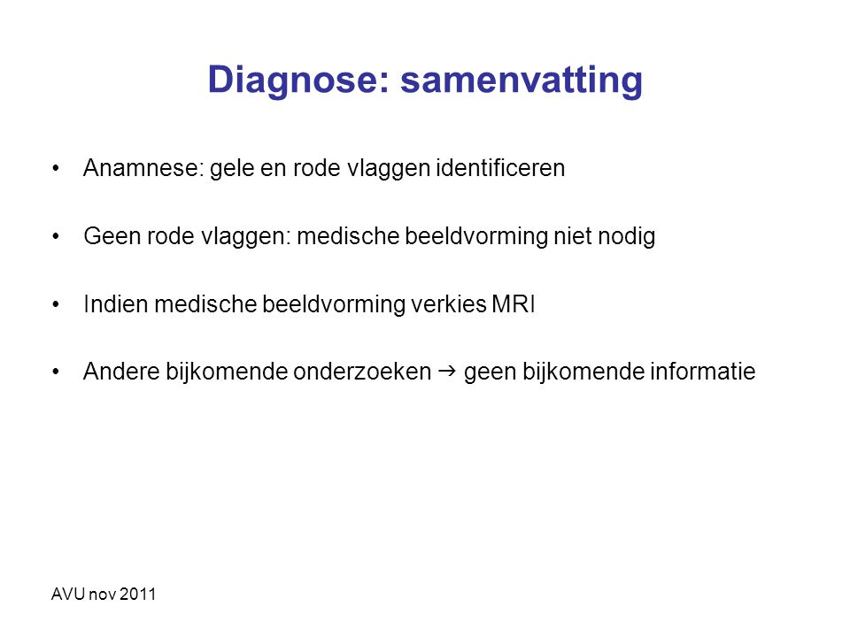 Diagnose: samenvatting