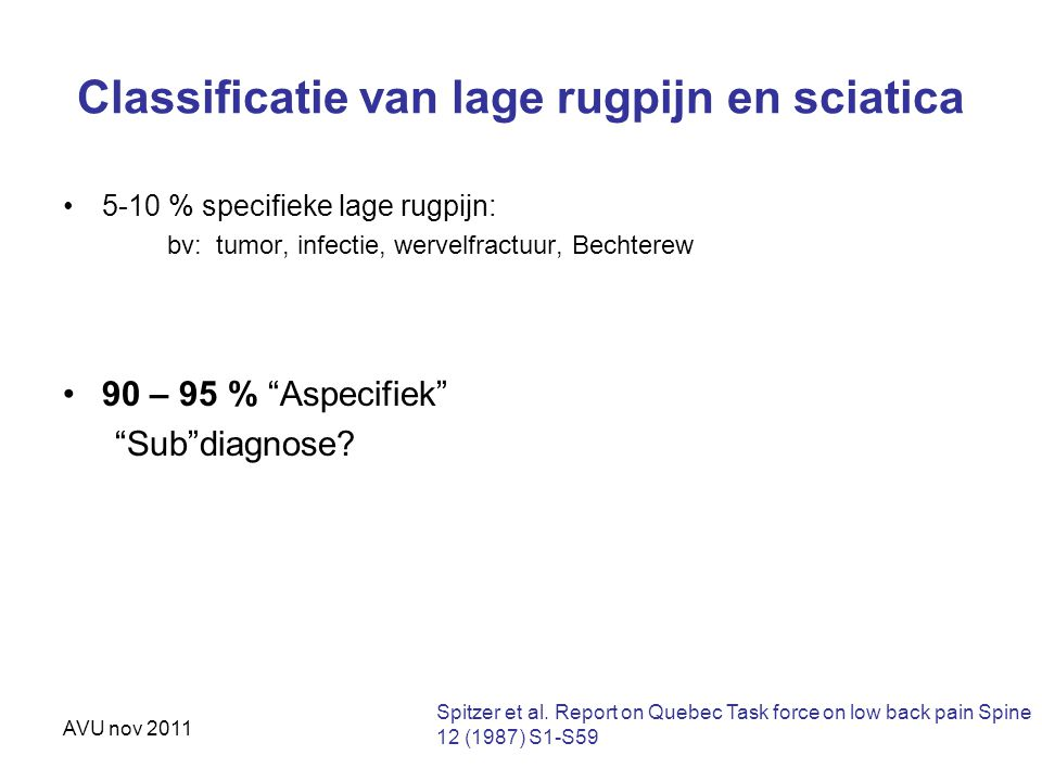 Classificatie van lage rugpijn en sciatica