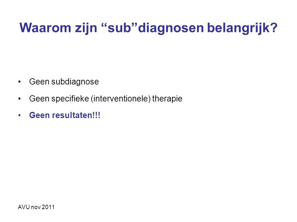 Waarom zijn sub diagnosen belangrijk