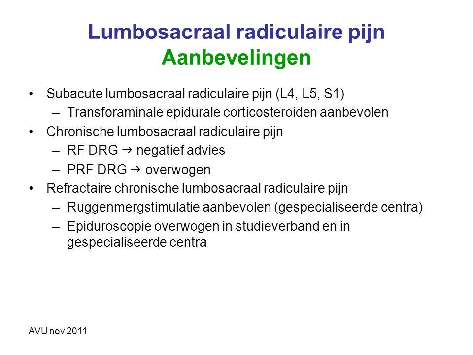 Lumbosacraal radiculaire pijn Aanbevelingen