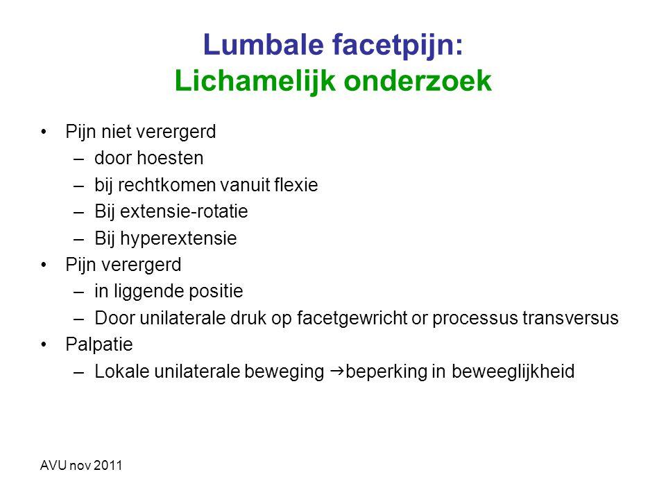 Lumbale facetpijn: Lichamelijk onderzoek