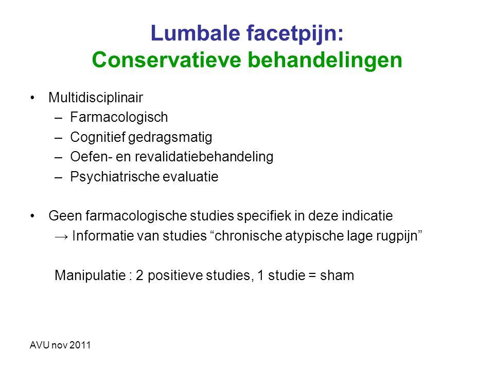 Lumbale facetpijn: Conservatieve behandelingen