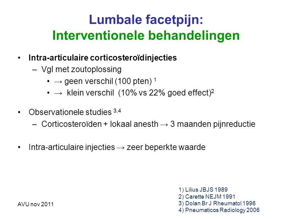 Lumbale facetpijn: Interventionele behandelingen