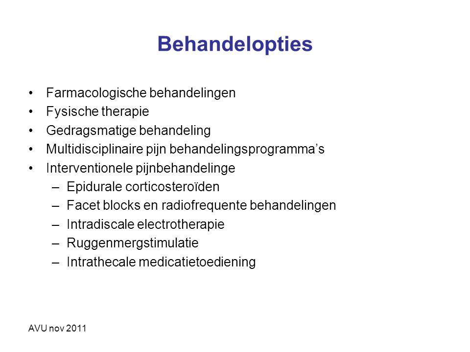 Behandelopties Farmacologische behandelingen Fysische therapie