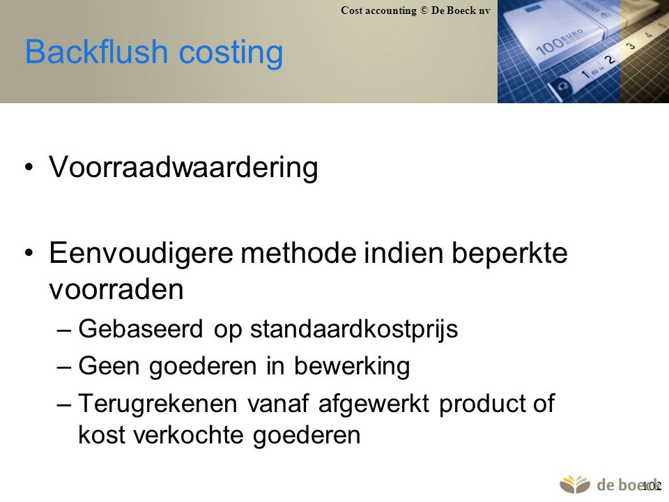 Backflush costing Voorraadwaardering