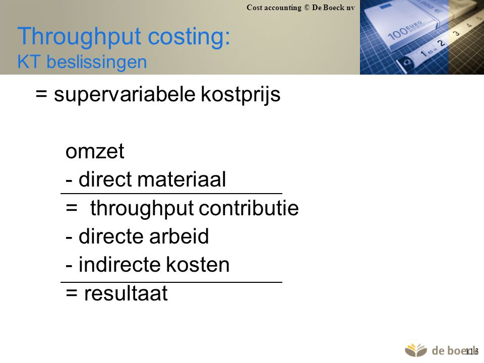 Throughput costing: KT beslissingen