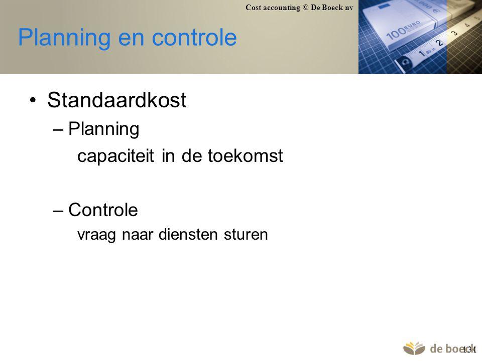 Planning en controle Standaardkost Planning capaciteit in de toekomst