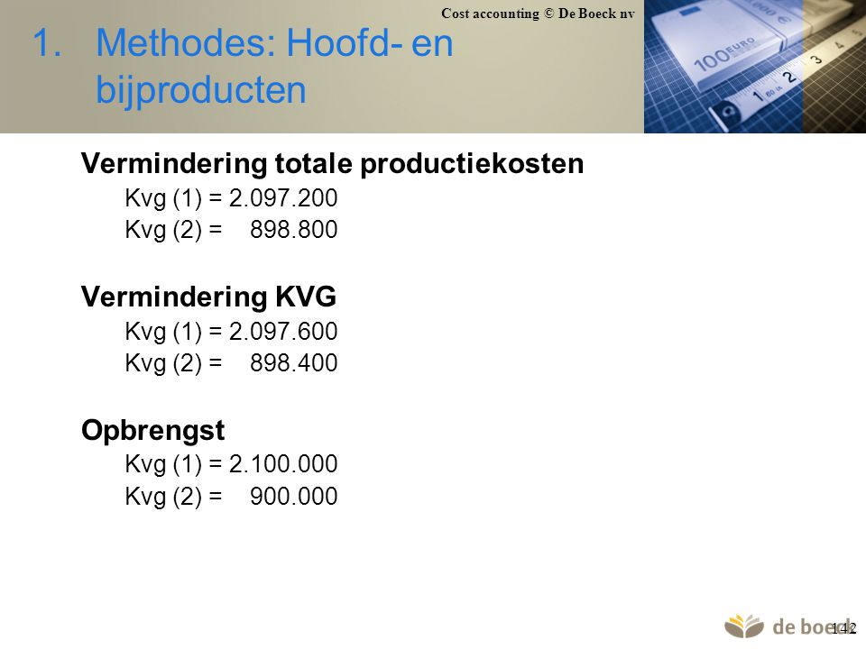 Methodes: Hoofd- en bijproducten