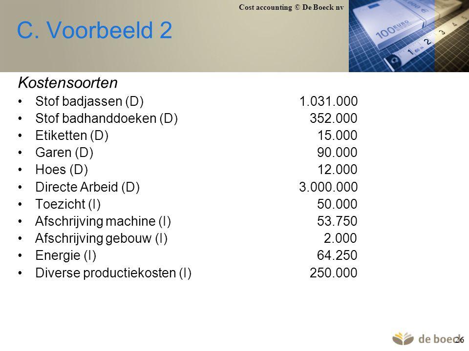 C. Voorbeeld 2 Kostensoorten Stof badjassen (D) 1.031.000