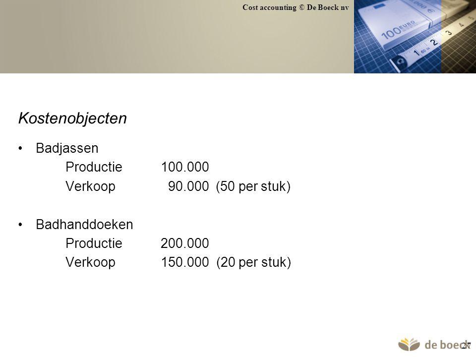 Kostenobjecten Badjassen Productie 100.000